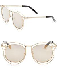 f82ee415536 Karen Walker - Women s Superstars Simone 54mm Round Wire Sunglasses - Gold  - Lyst