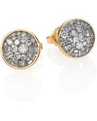 Plevé - Ice Diamond & 18k Yellow Gold Button Earrings - Lyst