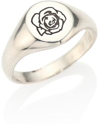 Cast Of Vices - 0.925 Silver Engraved Signet Rose Ring - Lyst