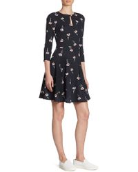Armani Jeans - Floral-print Keyhole Dress - Lyst