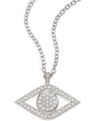 Sydney Evan | Xl Luxe Evil Eye Diamond & 14k White Gold Pendant Necklace | Lyst