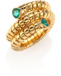 Marina B - Trisola Emerald & 18k Yellow Gold Coil Ring - Lyst