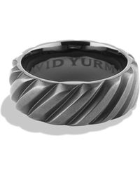 David Yurman - Modern Cable Wide Band Ring With Black Titanium - Lyst