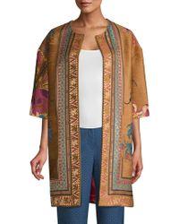 Etro - Ribbon & Embroidery Velvet Topper Jacket - Lyst