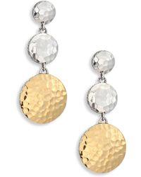 John Hardy - Dot Hammered 18k Yellow Gold & Sterling Silver Triple Drop Linear Earrings - Lyst