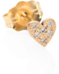 Zoe Chicco - Itty Bitty Heart Diamond & 14k Yellow Gold Single Stud Earrings - Lyst