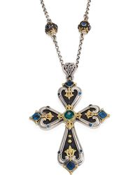 Konstantino - Nemesis London Blue Topaz & Green Agate Cross Pendant - Lyst