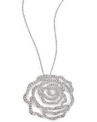 Adriana Orsini - Pave Crystal Rosette Pendant Necklace - Lyst