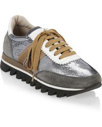 Brunello Cucinelli - Metallic-paneled Sneakers - Lyst