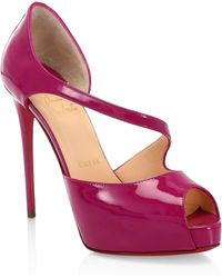 e2c732bed59b Christian Louboutin - Catchy Two 120 Patent Leather Peep Toe Pumps - Lyst