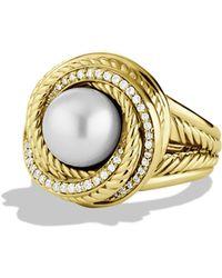 David Yurman - Diamond Pearl 18k Yellow Gold Ring - Lyst