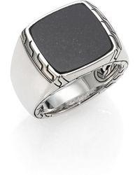 John Hardy - Black Lapis & Sterling Silver Batu Ring - Lyst