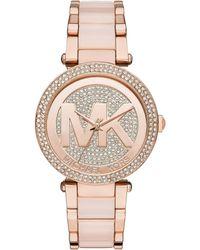 cc091eb2fce6 Michael Kors - Parker Blush Acetate And Rose Goldtone Stainless Steel  Bracelet Watch - Lyst