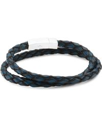Tateossian - Click Scoubidou Leather And Sterling Silver Double Wrap Bracelet - Lyst