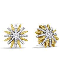David Yurman - Starburst Extra-small Earrings With Diamonds In Gold - Lyst