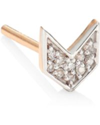 Kismet by Milka | Chevron Diamond & 14k Rose Gold Single Stud Earring | Lyst