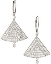 Meira T - Diamond & 14k White Gold Triangle Drop Earrings - Lyst