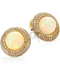 Bavna - Diamond & Moonstone Stud Earrings - Lyst