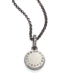 Rene Escobar - Women's Small Diamond & Sterling Silver Round Pendant Necklace - Silver - Lyst