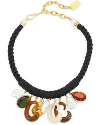 Lizzie Fortunato - Piazza 18k Goldplated 14mm Baroque Pearl & Glass Stone Corded Bib Necklace - Lyst