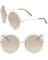 Chloé - Carlina 62mm Round Metal Sunglasses - Lyst