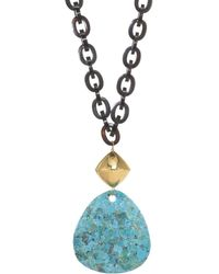Nest - Turquoise & Black Horn Chain Link Pendant Necklace - Lyst
