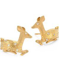 Temple St. Clair | Deer Diamond & 18k Yellow Gold Stud Earrings | Lyst