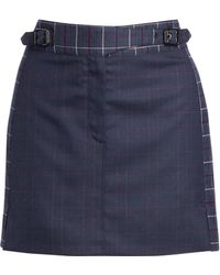 ea5ae5231 Burberry Brit Leather Accented Pleated Mini Skirt in Blue - Lyst
