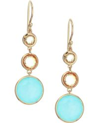 Ippolita - Lollipop 18k Yellow Gold, Cognac Citrine, Orange Carnelian, Clear Quatrz Over Turquoise Drop Earrings - Lyst