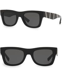 Valentino Va4045 Solid Black 50mm Square Sunglasses