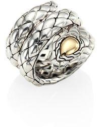 John Hardy - Cobra Sterling Silver & 18k Yellow Gold Ring - Lyst