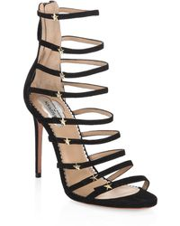 Aquazzura - Claudia Schiffer For Crystal Star Suede Sandals - Lyst