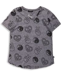 Terez - Girl's Gray Peace & Love Burnout Tee - Lyst