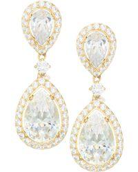 Adriana Orsini - 18k Gold Sterling Silver Framed Double Pear Drop Earrings - Lyst