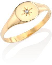 Jacquie Aiche - Burst Diamond & 14k Yellow Gold Signet Ring - Lyst