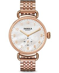 Shinola - Canfield Diamond, Mother-of-pearl & Rose Goldtone Stainless Steel Bracelet Watch - Lyst