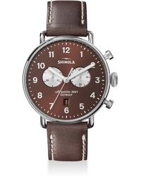 Shinola - The Canfield Chronograph Tapered Leather Strap Watch - Lyst