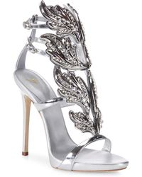 Giuseppe Zanotti - Crystal-embellished Metallic Leather Wing Sandals - Lyst