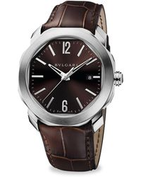 BVLGARI - Octo Roma Stainless Steel & Brown Alligator Watch - Lyst