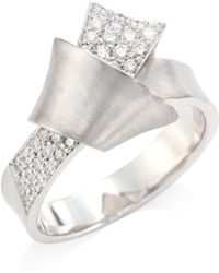 Carelle - Jumbo Knot Diamond & 18k White Gold Ring - Lyst