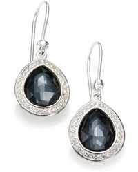 Ippolita - Stella Hematite, Clear Quartz, Diamond & Sterling Silver Doublet Teardrop Earrings - Lyst