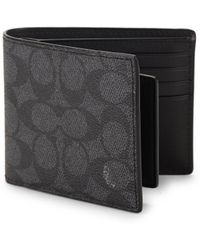 COACH - Signature Compact Leather Id Wallet - Lyst