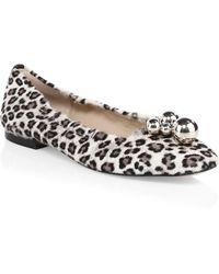 Stuart Weitzman - Cressida Leopard Print Calf Hair Flats - Lyst