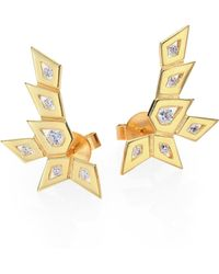 Ron Hami - Rain Diamond & 18k Yellow Gold Medium Spike Ear Cuffs - Lyst