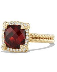 David Yurman - Châtelaine Pave Bezel Ring With Garnet And Diamonds In 18k Yellow Gold - Lyst