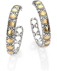 John Hardy - Naga 18k Yellow Gold & Sterling Silver Hoop Earrings/1.15 - Lyst