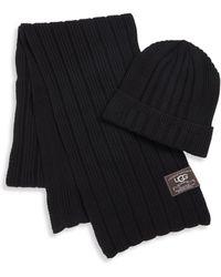 UGG - Ribbed Cuff Hat & Scarf Set - Lyst