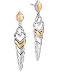 John Hardy   Legends Naga Diamond Pave & 18k Gold Long Drop Earrings   Lyst