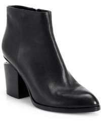 Alexander Wang - Gabi Leather Silver-Cutout Ankle Boots - Lyst