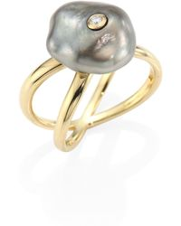 Mizuki - Diamond, 10mm Grey Baroque Tahitian Pearl & 14k Yellow Gold Crossover Ring - Lyst
